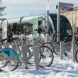 Bikes parked in the snow at a Bordeaux tram stop — Stock Photo