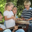 Portrait of a family playing music — Stock Photo
