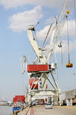 Crane by the side of a port — Stock Photo