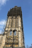 Scaffolding on a church — Stock Photo