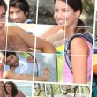 Montage of young enjoying the summertime — Stock Photo