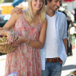 Couple food shopping at the local market — Stock Photo #13928898