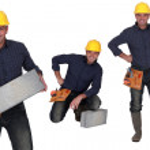 Builder with concrete blocks — Stock Photo