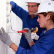 Electrician training his female apprentice — Stock Photo