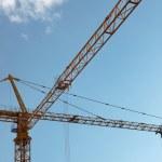 stora gula konstruktion kran — Stockfoto