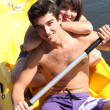 Couple in a canoe - Foto de Stock
