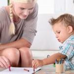 mãe e filho de desenho — Foto Stock