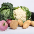 Foto Stock: Selection of fresh vegetables