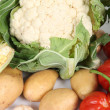 Close-up of a cauliflower and some vegetables — Stock Photo #14035558