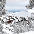 Snow covered chalets — Stockfoto
