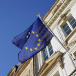 European flag outside of a building - Stock Photo