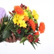 Stock Photo: Female florist taking flowers bouquet