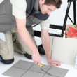 Stock Photo: Tiler grouting