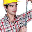 Carpenter with specialist rule — Stockfoto