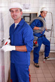 Duo of electricians — Stock Photo