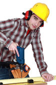 Woodworker using drill — Stock Photo