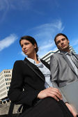 Business partners in the city — Stock Photo