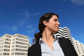 Low-angle shot of a businesswoman standing outside — Stock Photo