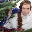 Young woman celebrating Christmas — Stock Photo #14101819