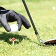 Placing golf ball — Stock Photo