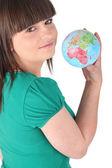 Girl holding a globe Godreau_Lea_140410 — Zdjęcie stockowe