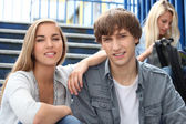 Students on the steps — Stock Photo