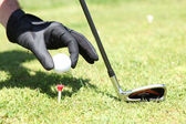 Placing golf ball — Stok fotoğraf
