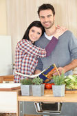 Couple following a recipe — Stock Photo