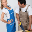 Couple doing woodwork — Stock Photo #14111496