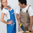 Couple doing woodwork - Stock Photo