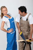 Couple doing woodwork — Stock Photo