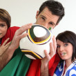 Stock Photo: Three passionate Italisoccer fans