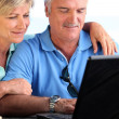Middle-aged couple using laptop computer — Stock Photo