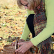 Middle-aged woman gathering chestnuts — Stock Photo #14138331