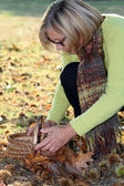 Middle-aged woman gathering chestnuts — Stock Photo