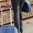 Lady waiting on the station platform Delaire_Constance_150410 — Stock Photo