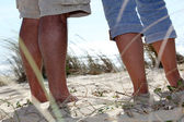 Walking on a sand dune — Stock Photo