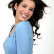 Portrait of splendid brunette all smiles - Stock Photo