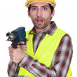 Worker with surprise gift — Stock Photo