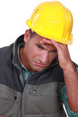 Crying construction worker — Stock Photo