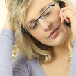 Tired woman on the phone — Stock Photo #14235185