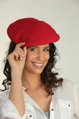 Girl with a beret — Stock Photo