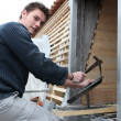Artisan roofer at work — Stock Photo