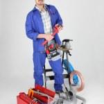 水管工与工具的肖像 — 图库照片