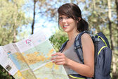 Teenage girl orienteering — Stock Photo