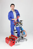 Portrait of plumber with tools — Stock Photo
