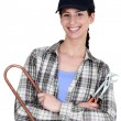 Foto Stock: Female plumber with tools