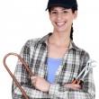 vrouwelijke loodgieter met tools — Stockfoto