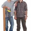 Stock Photo: Father and son carpentry team