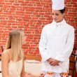 Chef talking with patron — Stock Photo #14252771